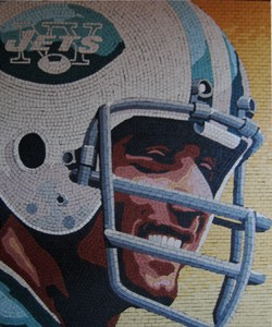 Joe Namath mosaic portrait by Patrick Petruccello